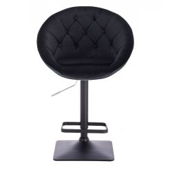 Barová židle VERA VELUR na černé podstavě - černá