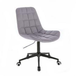 Kosmetická židle PARIS na černé podstavě s kolečky - šedá