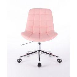 Kosmetická židle PARIS na podstavě s kolečky růžová