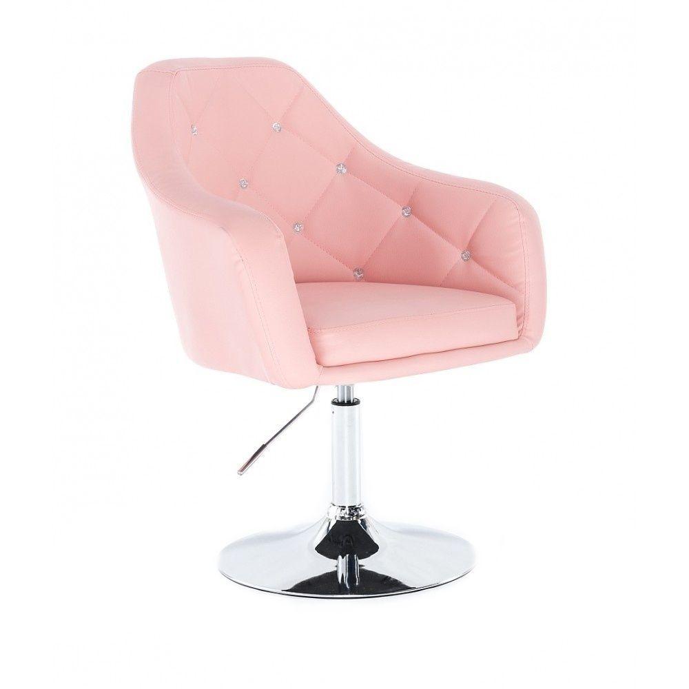 Kosmetická židle ROMA na stříbrné kulaté podstavě - růžová