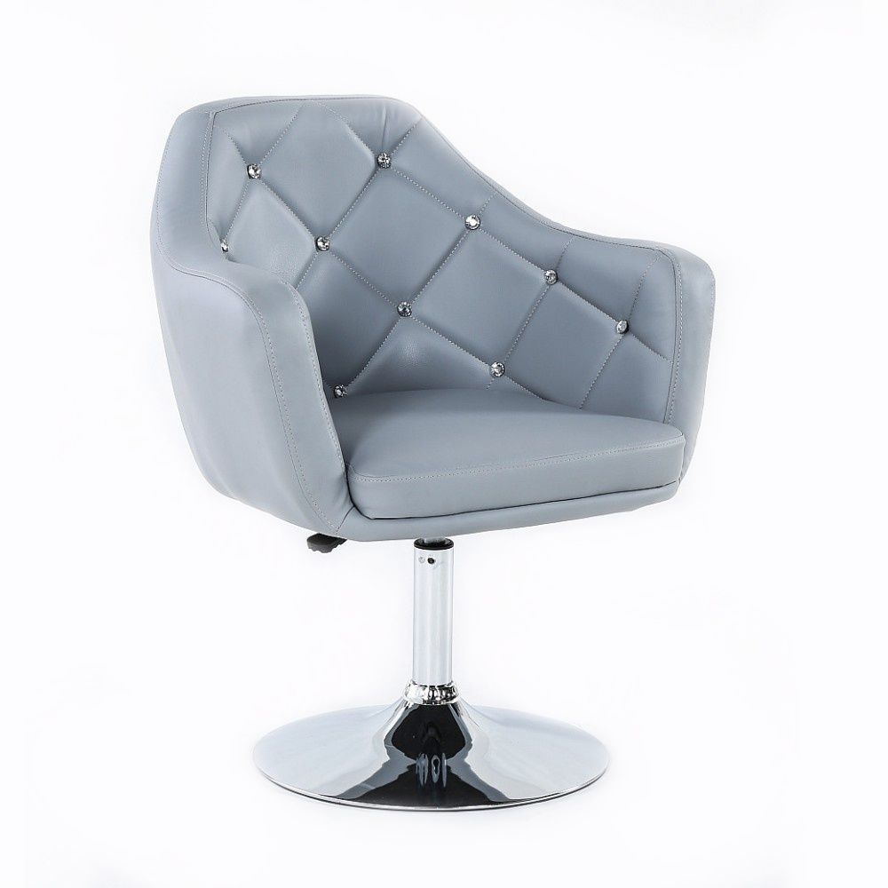 Kosmetická židle ROMA na kulaté podstavě - šedá