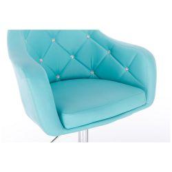 Kosmetická židle ROMA na stříbrné kulaté podstavě - tyrkysová
