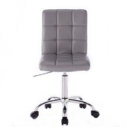 Kosmetická židle TOLEDO na stříbrné podstavě s kolečky - šedá