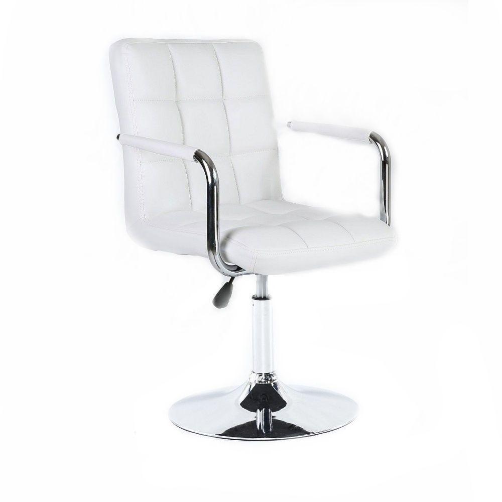 Kosmetická židle VERONA na stříbrné kulaté podstavě - bílá