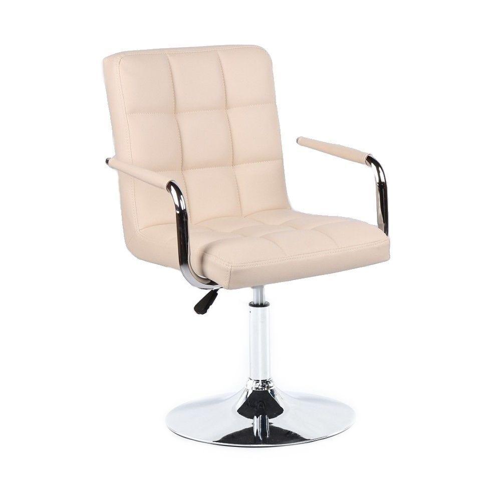 Kosmetická židle VERONA na kulaté podstavě krémová