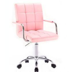 Kosmetická židle VERONA na stříbrné podstavě s kolečky - růžová