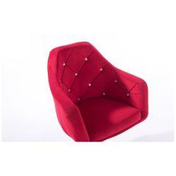 Kosmetické křeslo ROMA VELUR na stříbrné podstavě s kolečky - červená