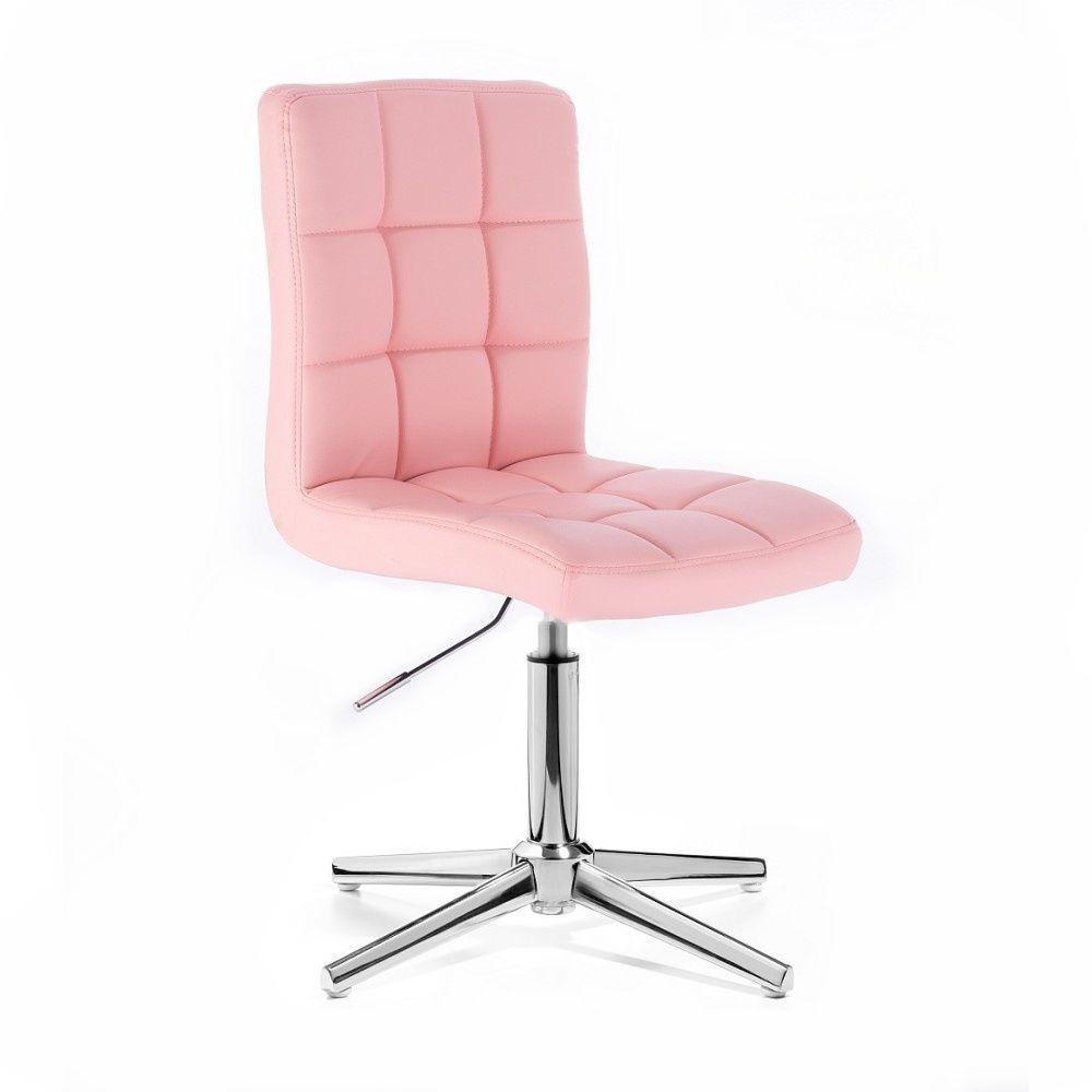 Kosmetická židle TOLEDO na stříbrném kříži - růžová
