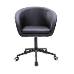 Kosmetická židle VENICE na černé podstavě s kolečky - černá