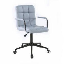 Kosmetická židle VERONA na černé podstavě s kolečky - šedá