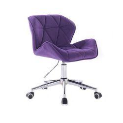 Kosmetická židle MILANO VELUR na stříbrné podstavě s kolečky - fialová