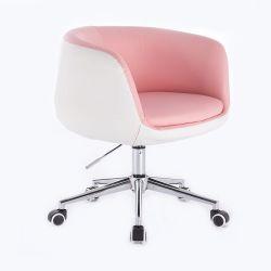 Kosmetická židle MONTANA na stříbrné podstavě s kolečky - růžovobílá