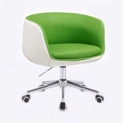 Kosmetická židle MONTANA na stříbrné podstavě s kolečky - zelenobílá