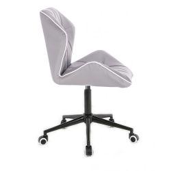 Kosmetická židle MILANO MAX na černé podstavě s kolečky - šedá
