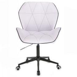 Kosmetická židle MILANO MAX na černé podstavě s kolečky - bílá