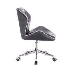 Kosmetická židle MILANO MAX na stříbrné podstavě s kolečky - černá