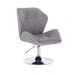 Kosmetická židle MILANO MAX na stříbrném talíři - šedá