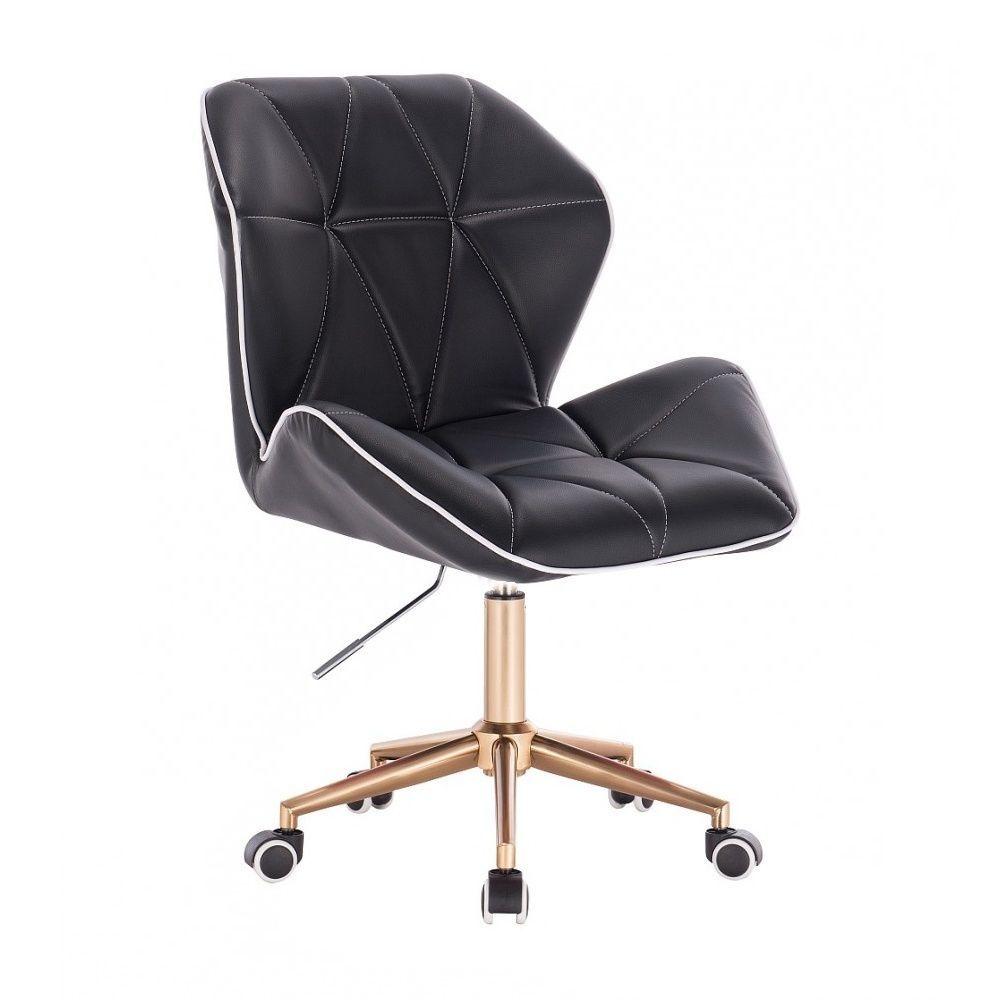 Kosmetická židle MILANO MAX na zlaté podstavě s kolečky - černá