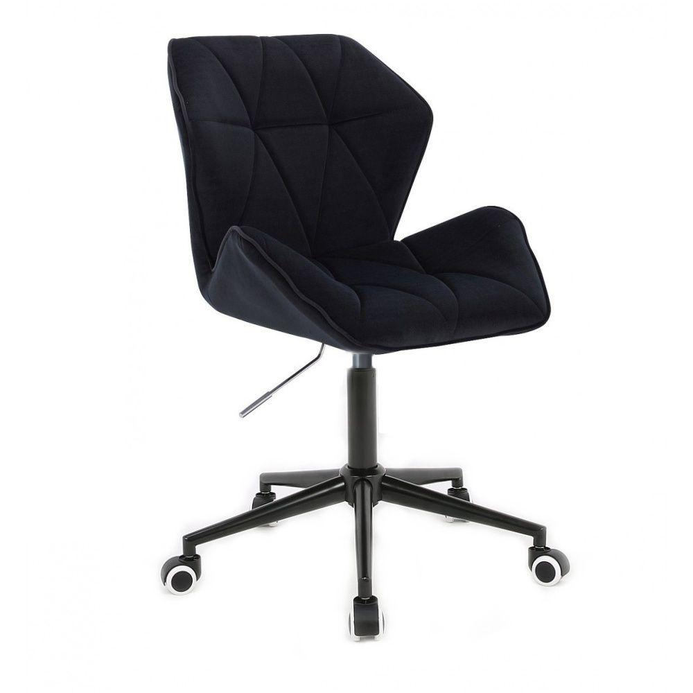Kosmetická židle MILANO MAX VELUR na černé podstavě s kolečky - černá