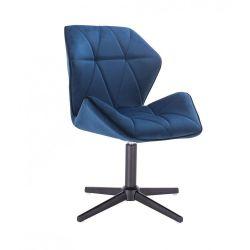 Kosmetická židle MILANO MAX VELUR na černém kříži - modrá
