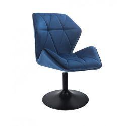 Kosmetická židle MILANO MAX VELUR na černém talíři - modrá