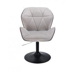 Kosmetická židle MILANO MAX VELUR na černém talíři - šedá