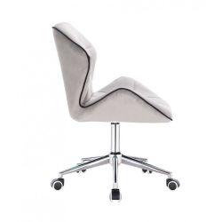 Kosmetická židle MILANO MAX VELUR na stříbrné podstavě s kolečky - šedá