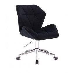 Kosmetická židle MILANO MAX VELUR na stříbrné podstavě s kolečky - černá
