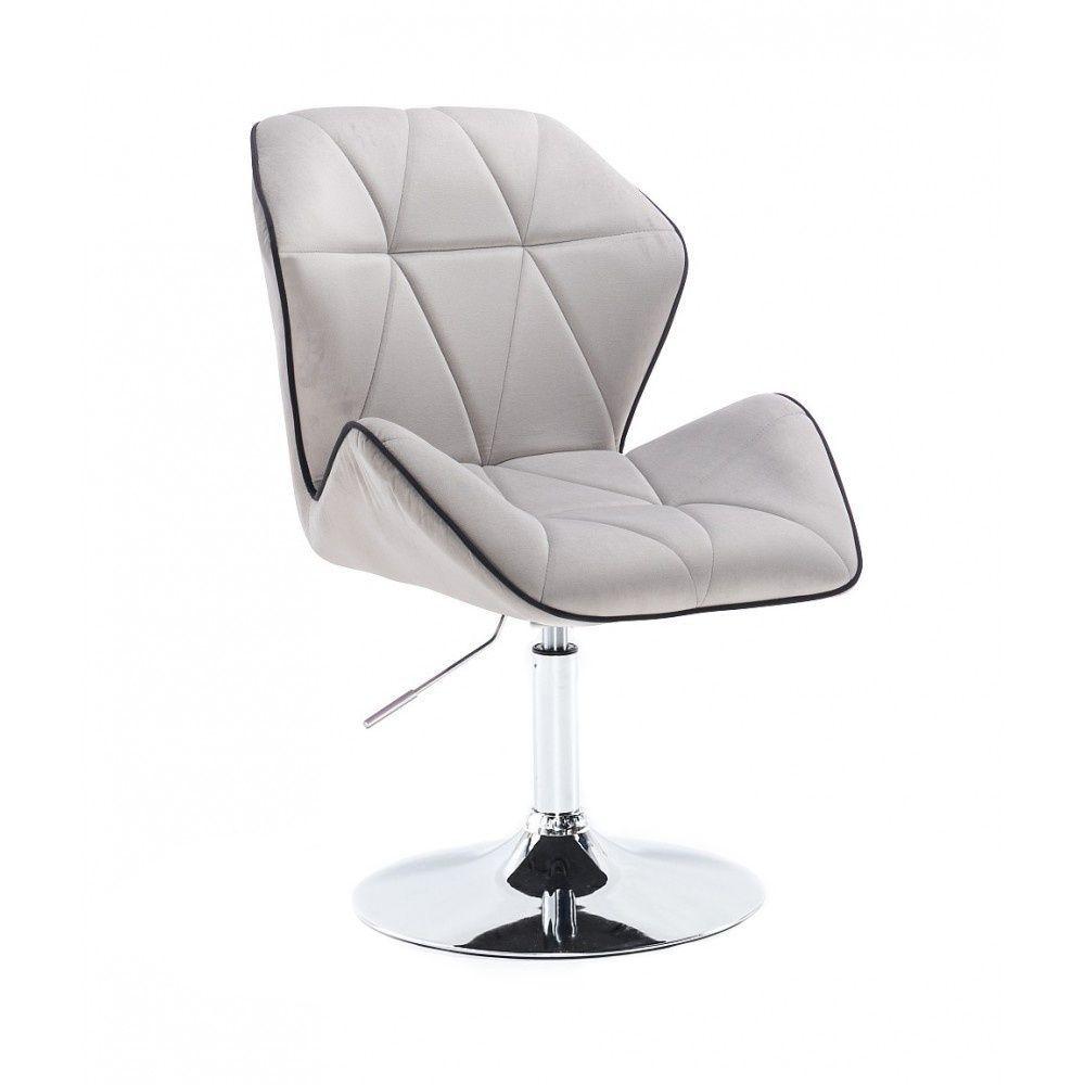 Kosmetická židle MILANO MAX VELUR na stříbrném talíři - šedá