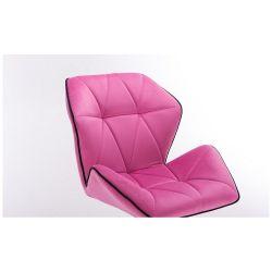 Kosmetická židle MILANO MAX VELUR na zlaté základně s kolečky - růžová