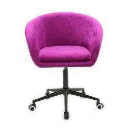 Kosmetická židle VENICE VELUR na černé podstavě s kolečky - fuchsie
