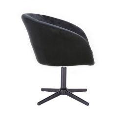 Kosmetická židle VENICE VELUR na černém kříži - černá