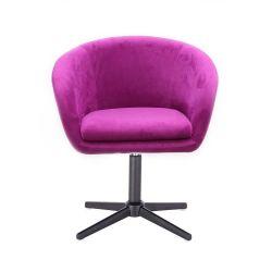 Kosmetická židle VENICE VELUR na černém kříži - fuchsie