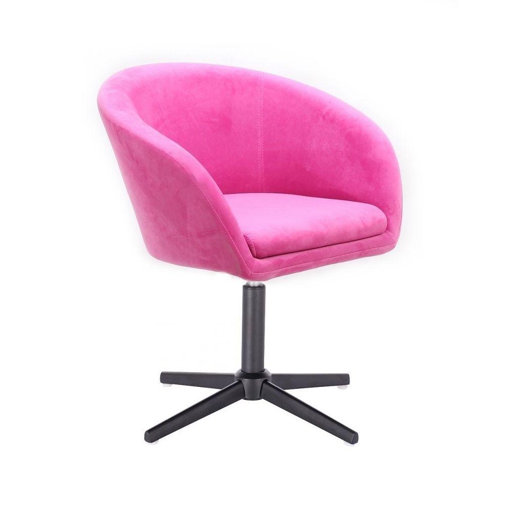 Kosmetická židle VENICE VELUR na černém kříži - růžová