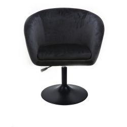 Kosmetická židle VENICE VELUR na černém talíři - černá