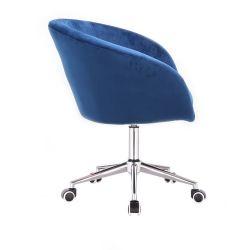 Kosmetická židle VENICE VELUR na stříbrné podstavě s kolečky - modrá