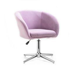 Kosmetická židle VENICE VELUR na stříbrném kříži - fialový vřes