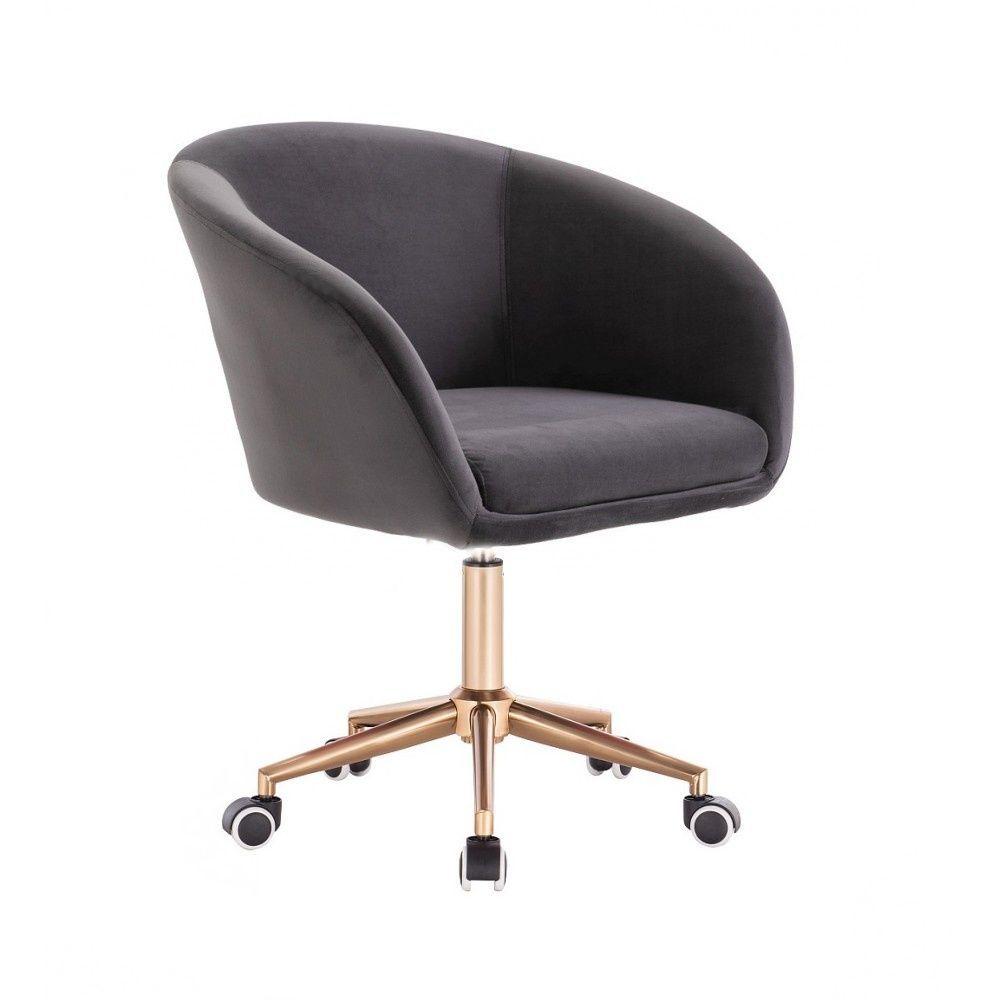 Kosmetická židle VENICE VELUR na zlaté podstavě s kolečky - tmavě šedá